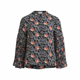 Printed Blouse with Pleated Sleeves