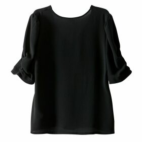 Plain Blouse with Short Puff Sleeves