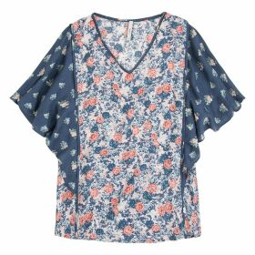 Mix Floral Print Blouse with Ruffles