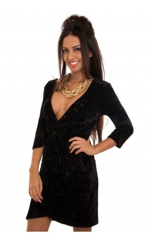 Velvet Crush Black Bodycon Dress