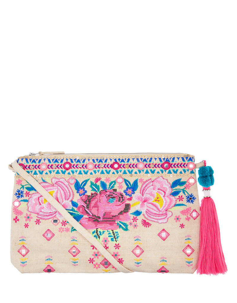 Rose Embroidered Cross Body Bag