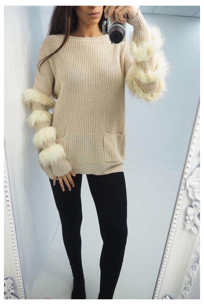 Annie faux fur detailed knitted jumper
