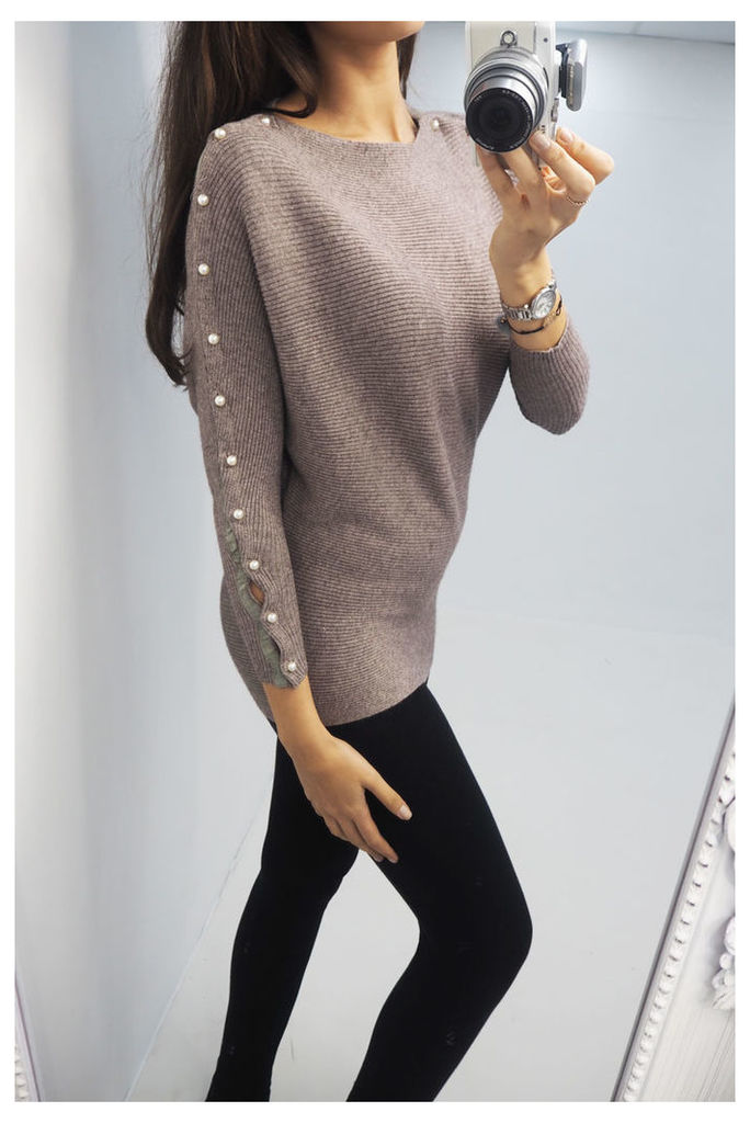 Miley glitter pearl sleeve knitted jumper