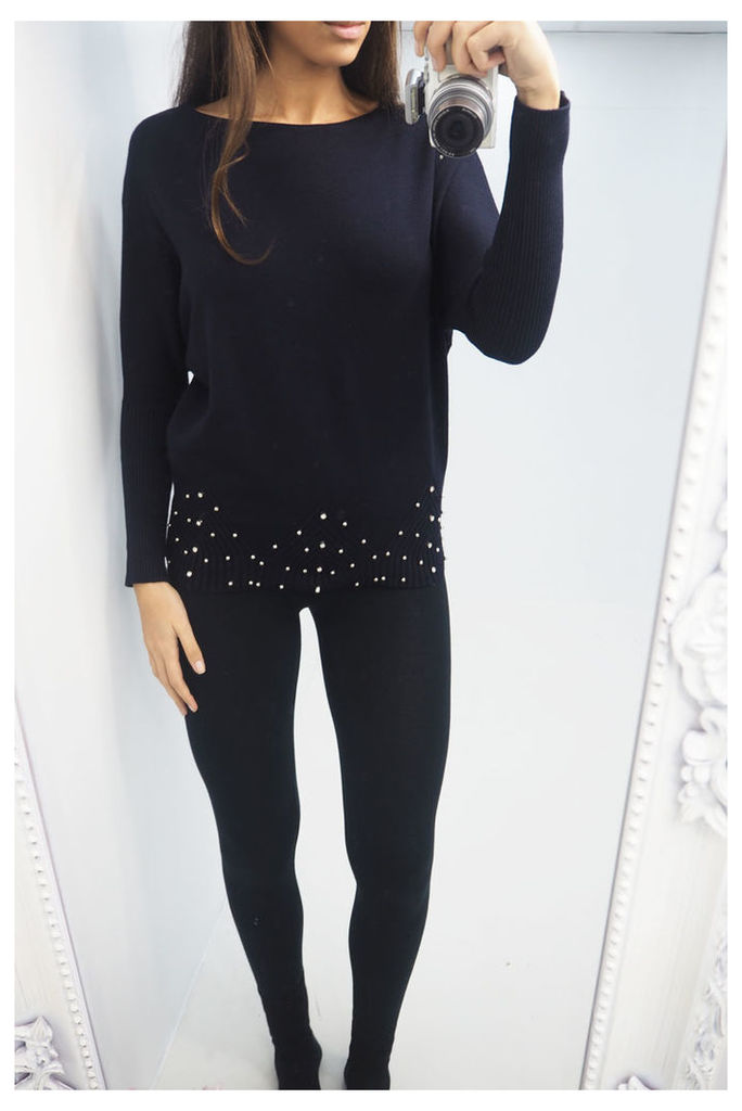 Elliana silver pearl hem knitted jumper