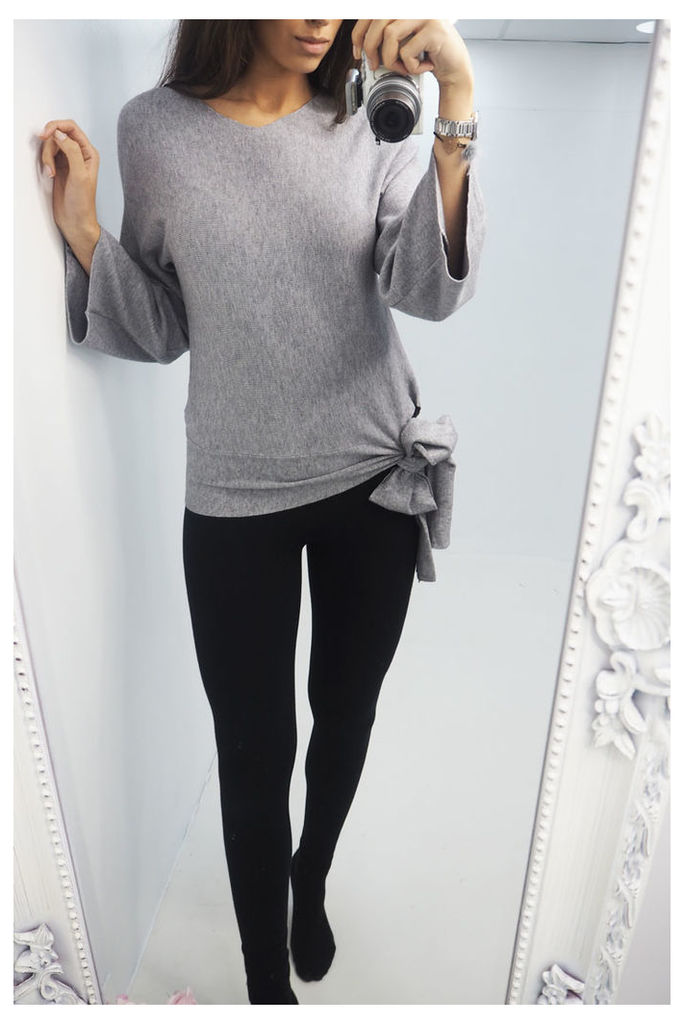 Anastasia tie side flared knitted jumper