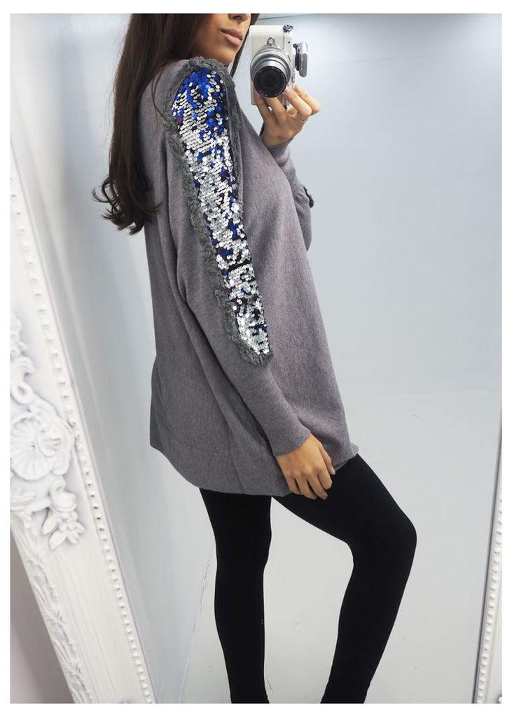 Kinley sequin sleeve loose fit jumper