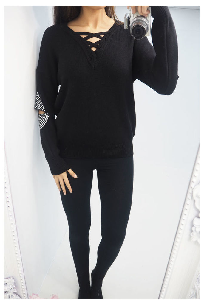Brianna lace up studded cut out knitted jumper