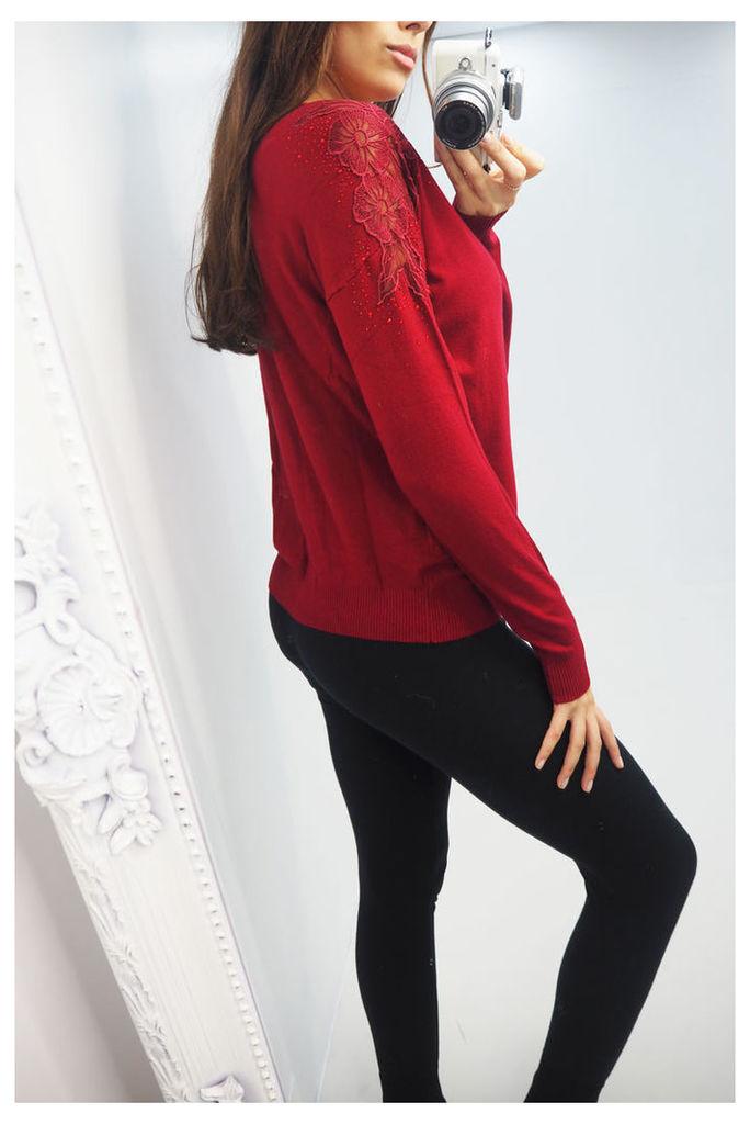 Genevieve floral crochet shoulder jumper