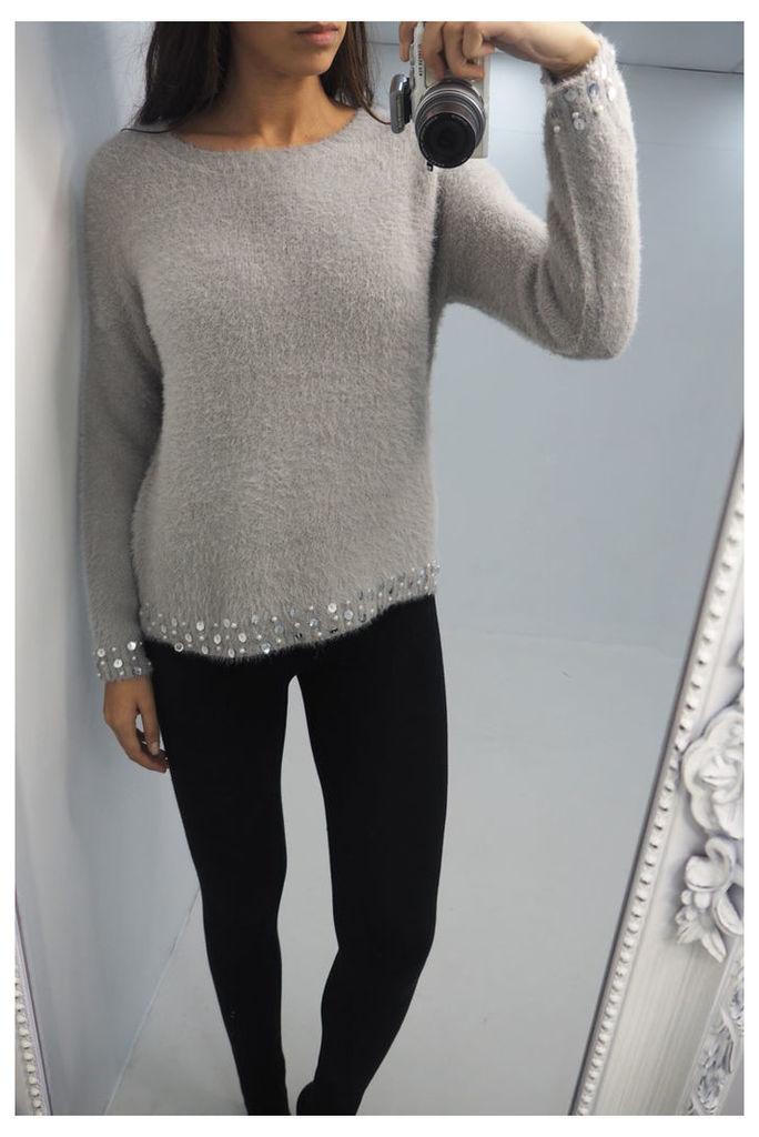 Addie soft knitted sequin hem jumper
