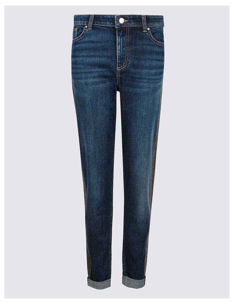 M&S Collection Metallic Mid Rise Slim Leg Jeans