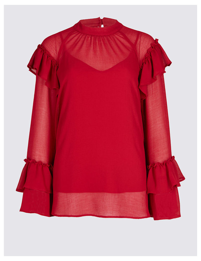 M&S Collection Round Neck Frill Sleeve Blouse