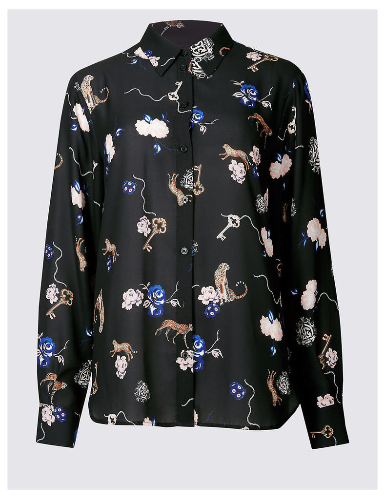 Twiggy Floral Animal Print Long Sleeve Shirt