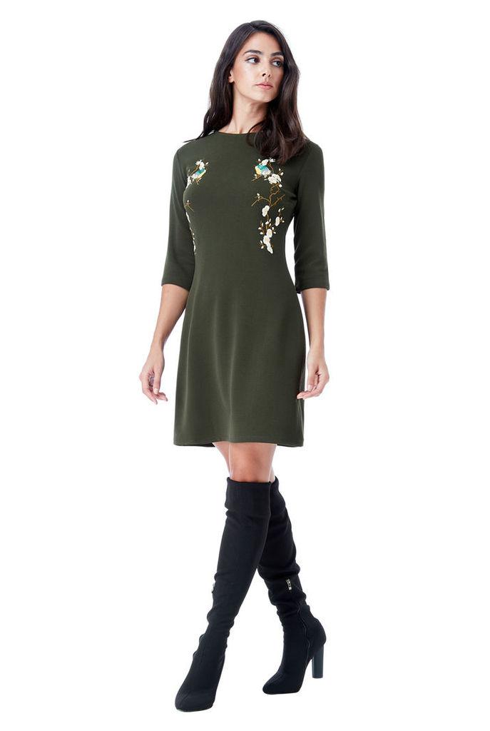 Oriental Print Shift Dress - Khaki