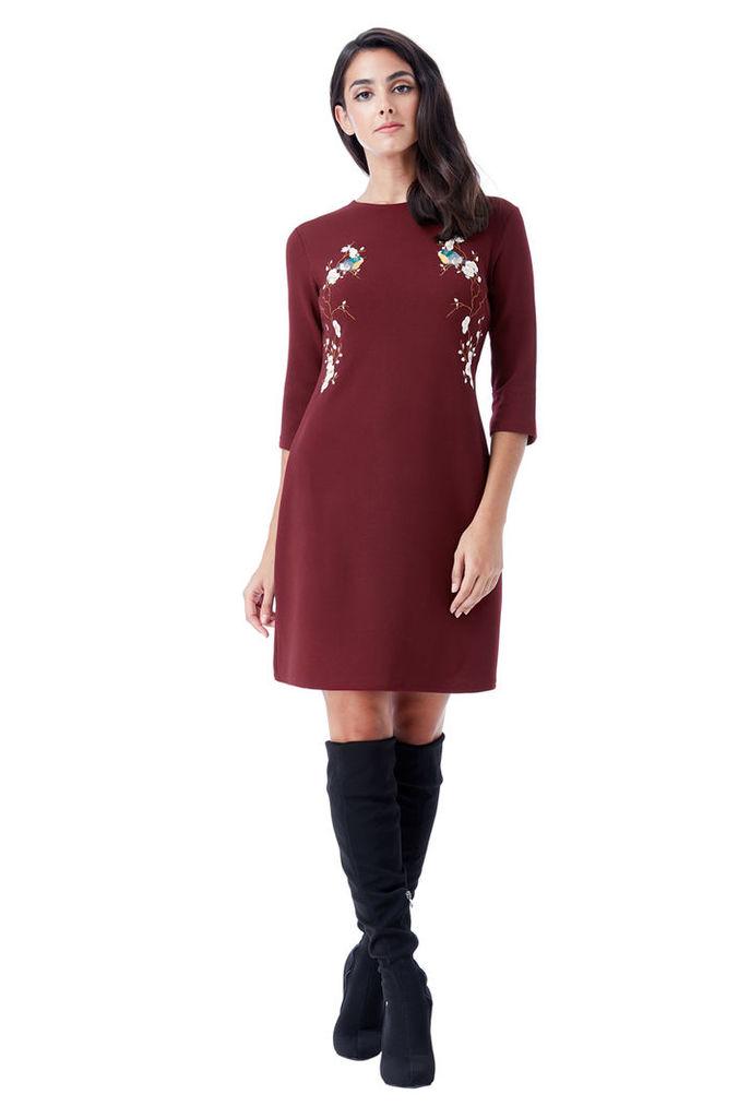 Oriental Print Shift Dress - Wine