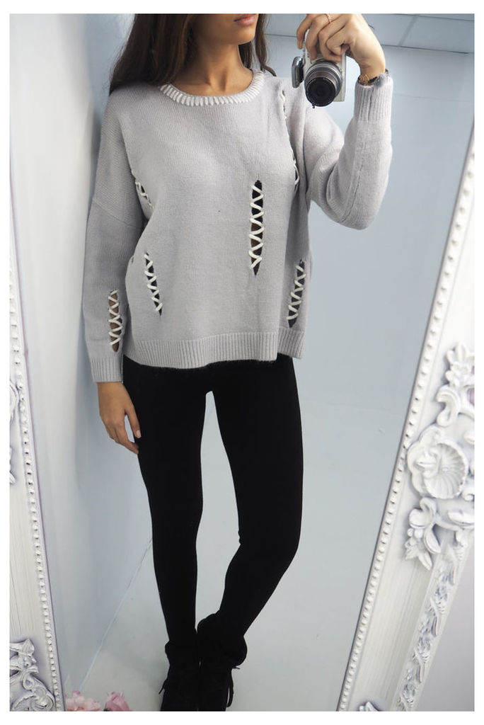 Nalisa Ladder Cut Out knitted jumper