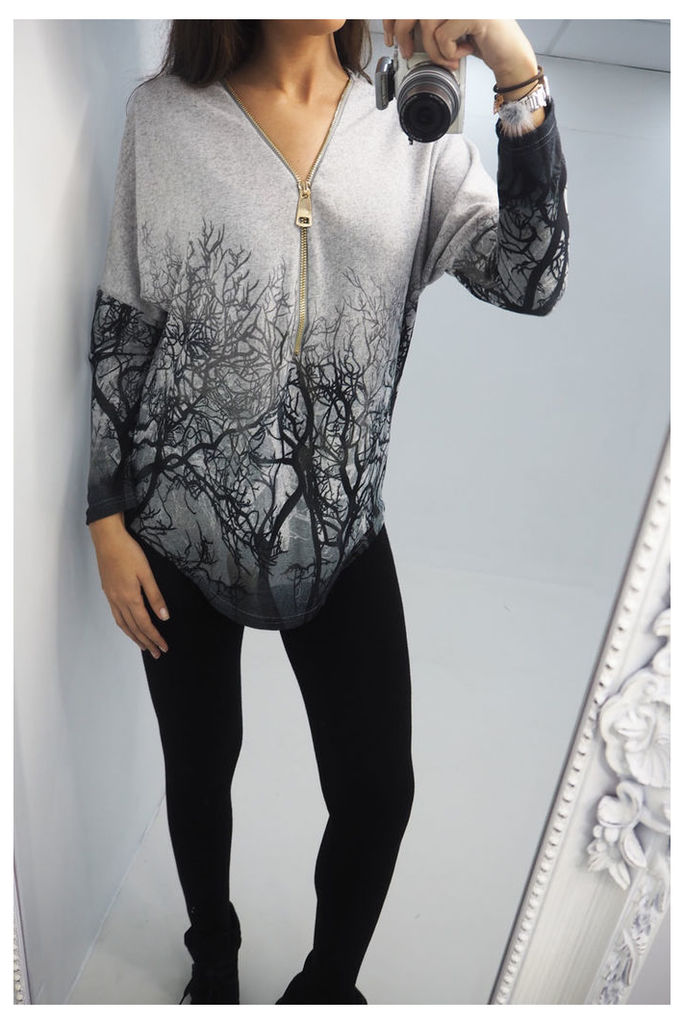 Rayne forest printed zip front top