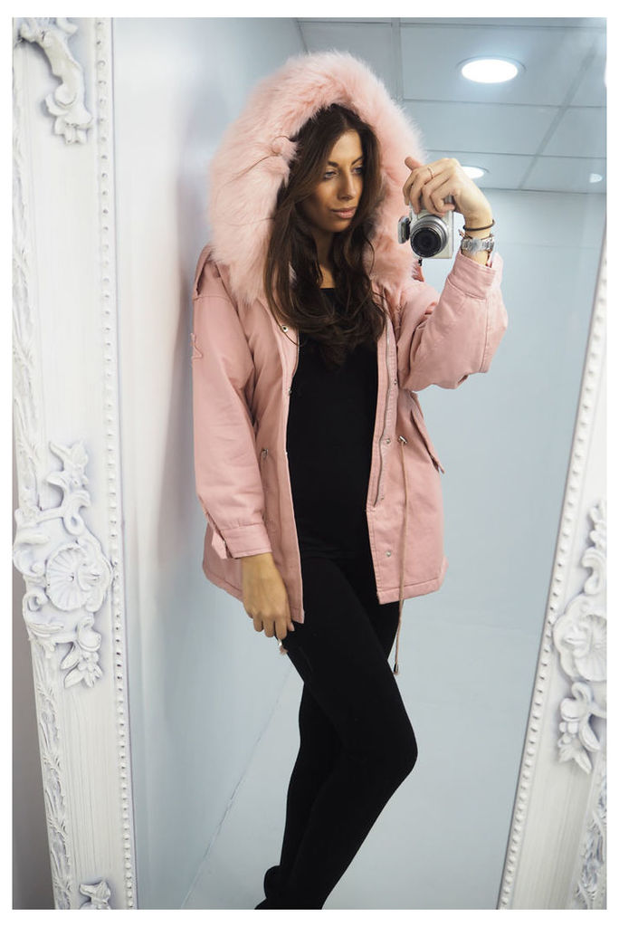 Charlotte Baby Pink star faux fur hooded parka