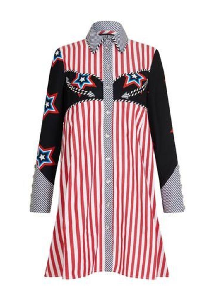 Oversized Stars and Stripes Shirt Dress
