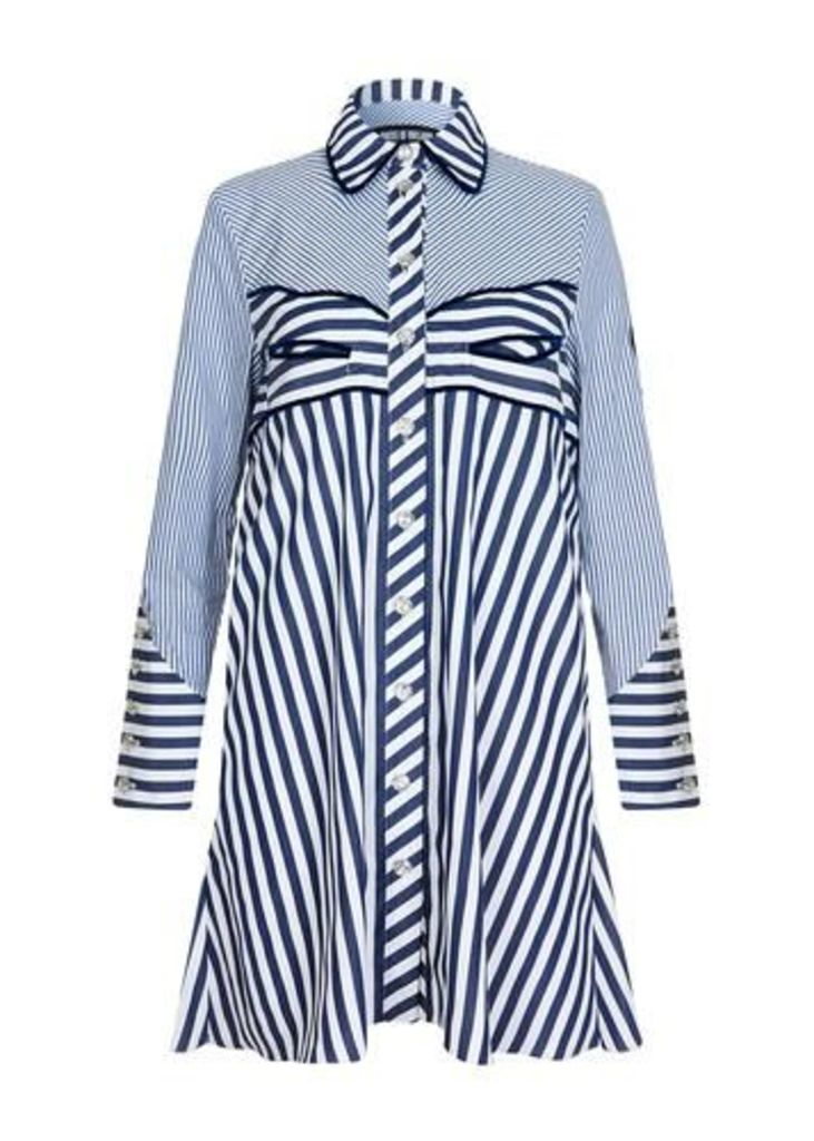 Western Striped Shirt Dress