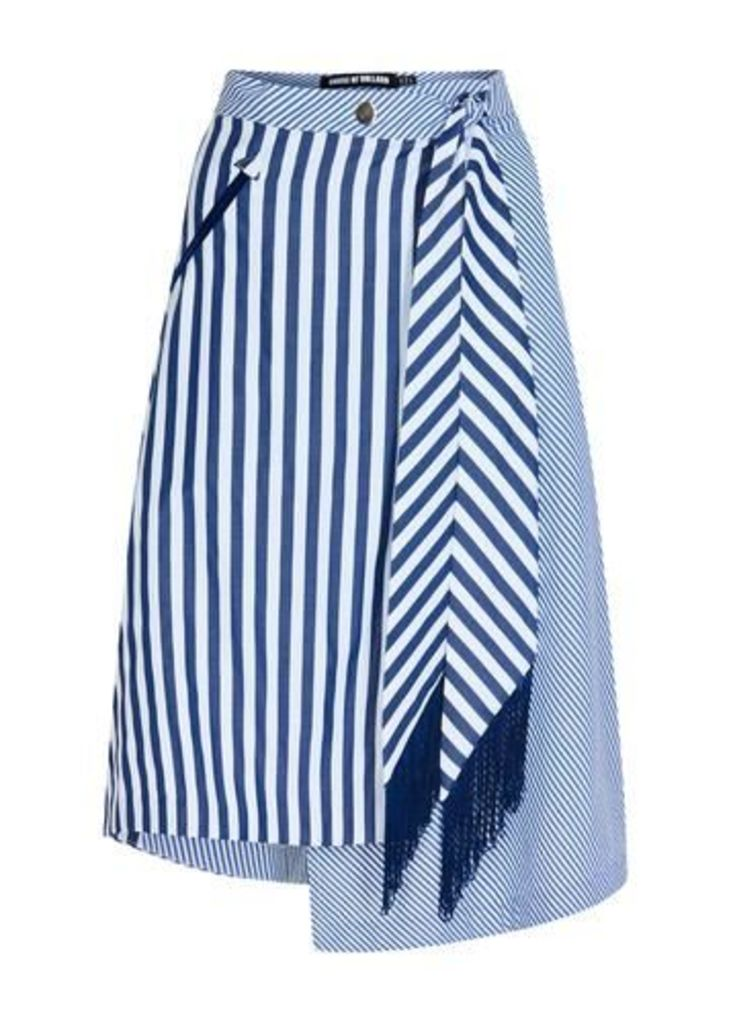 Contrast Stripe Wrap Skirt