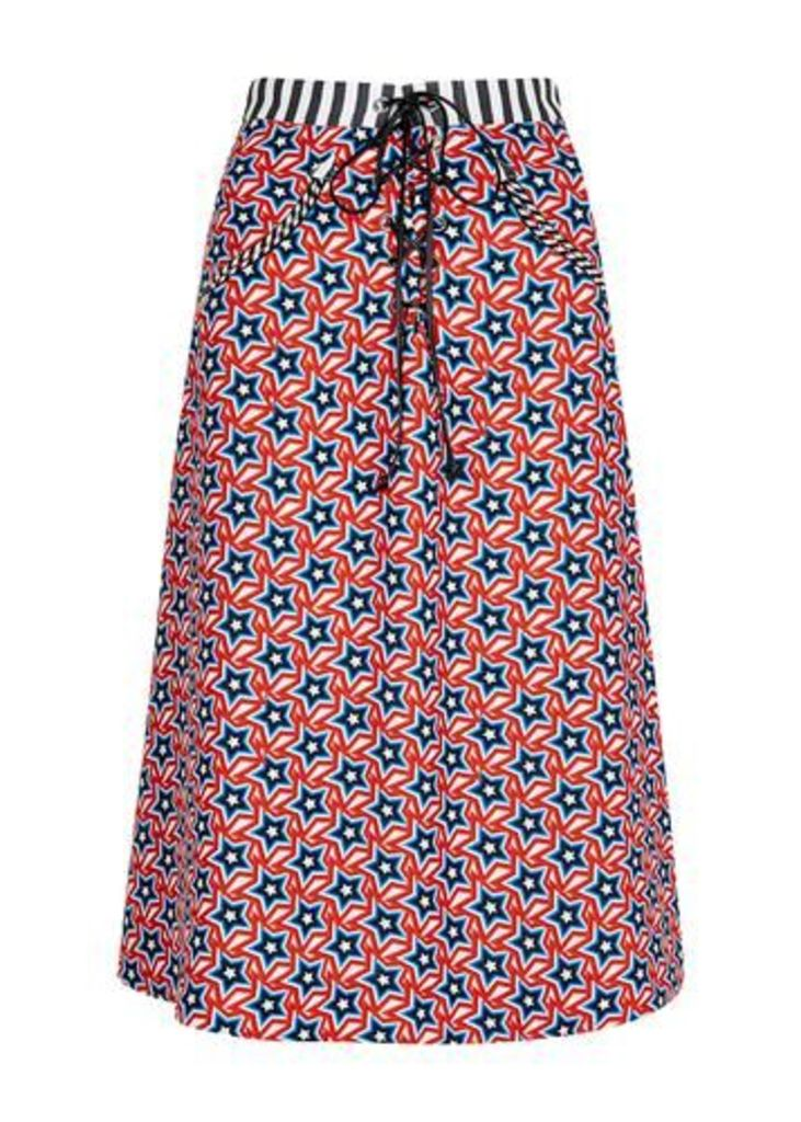 Lace Up Star Print A-Line Skirt