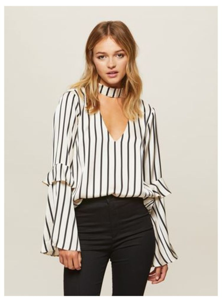 Womens Satin Striped Top, Assorted