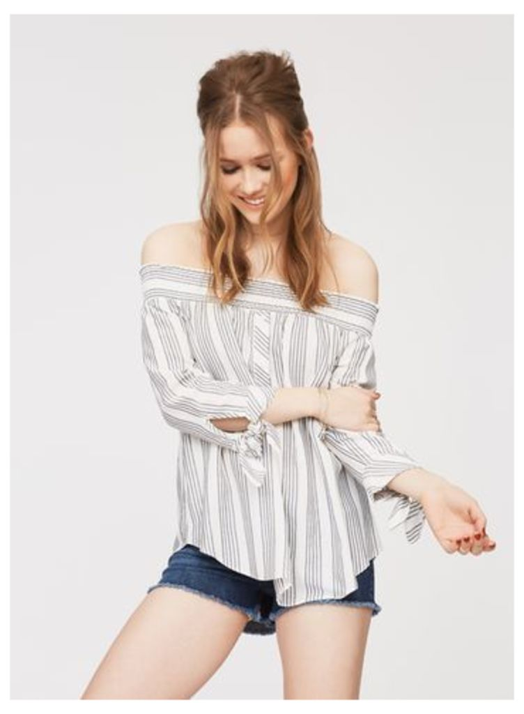 Womens Stripe Button Front Bardot Top, Assorted