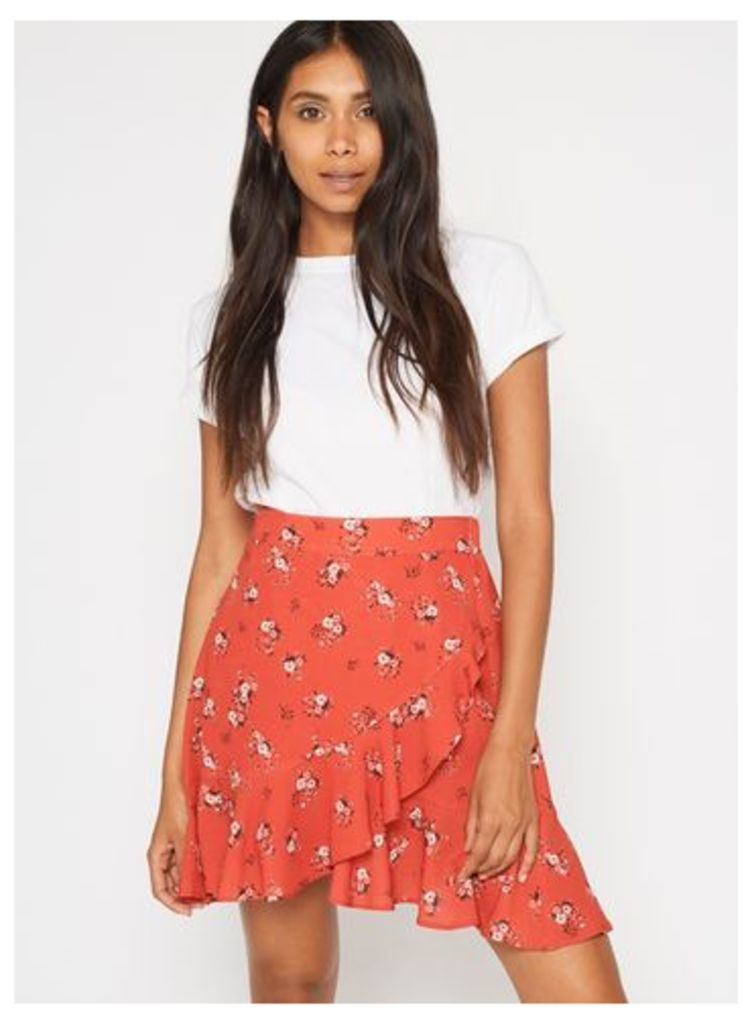 Womens PETITE Asymmetric Floral Print Skirt, Red