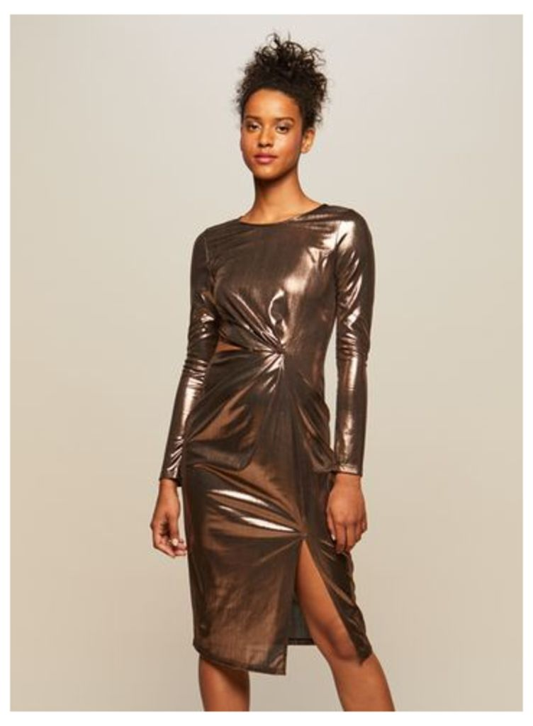 Womens Metallic Cut Out Bodycon Dress, Rose Gold