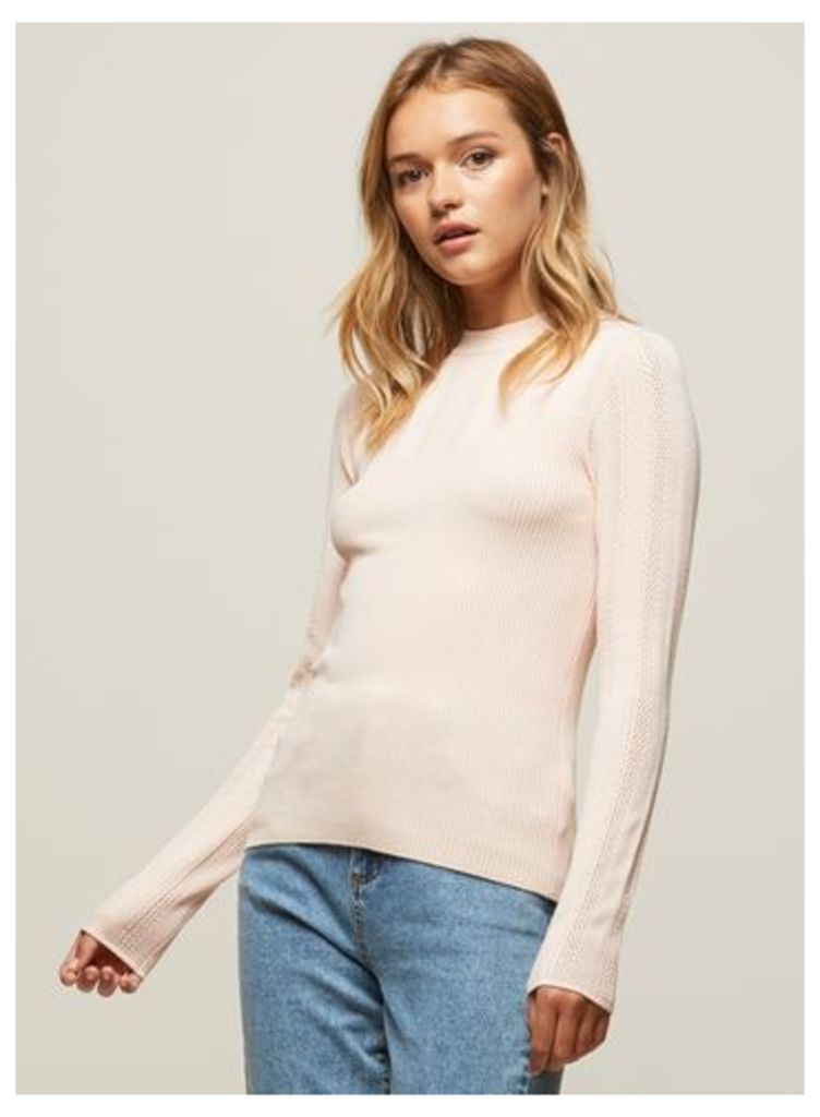 Womens Pink Pointelle Ribbed Knitted Jumper, Pink