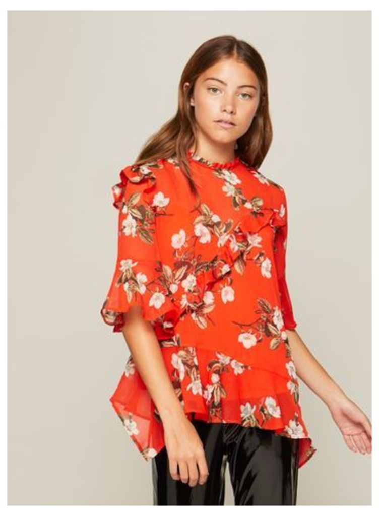 Womens Red Print Asymmetric Ruffle Blouse, Assorted