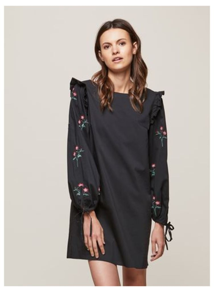 Womens Embroidered Sleeve Frill Shift Dress, Black