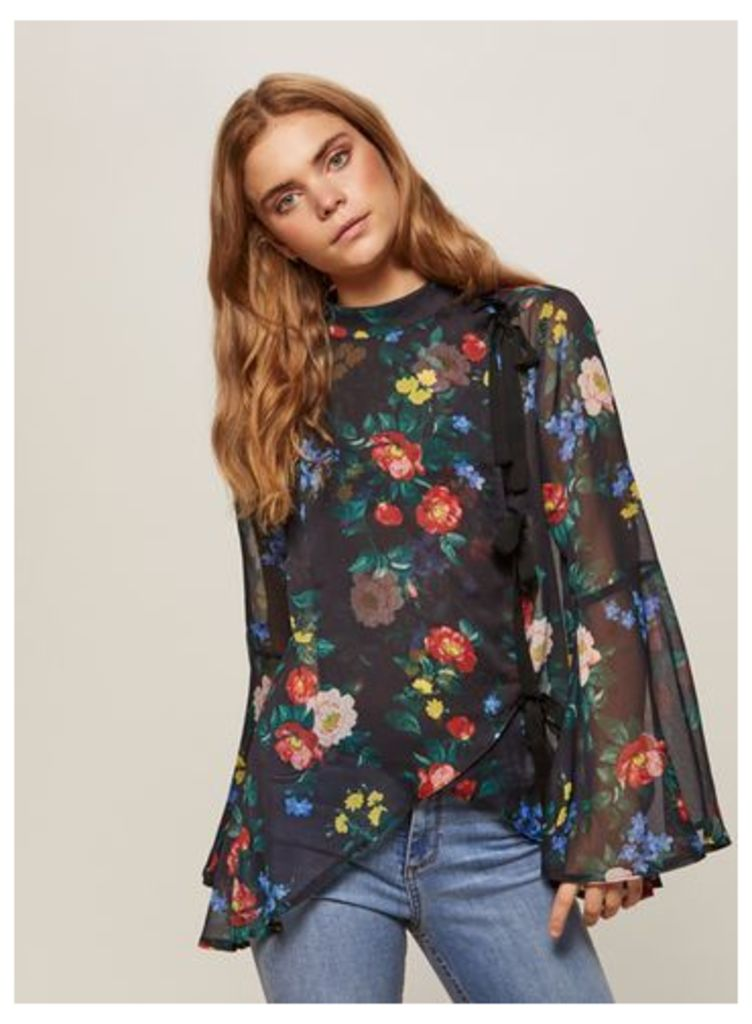 Womens Floral Print High Neck Blouse, Assorted