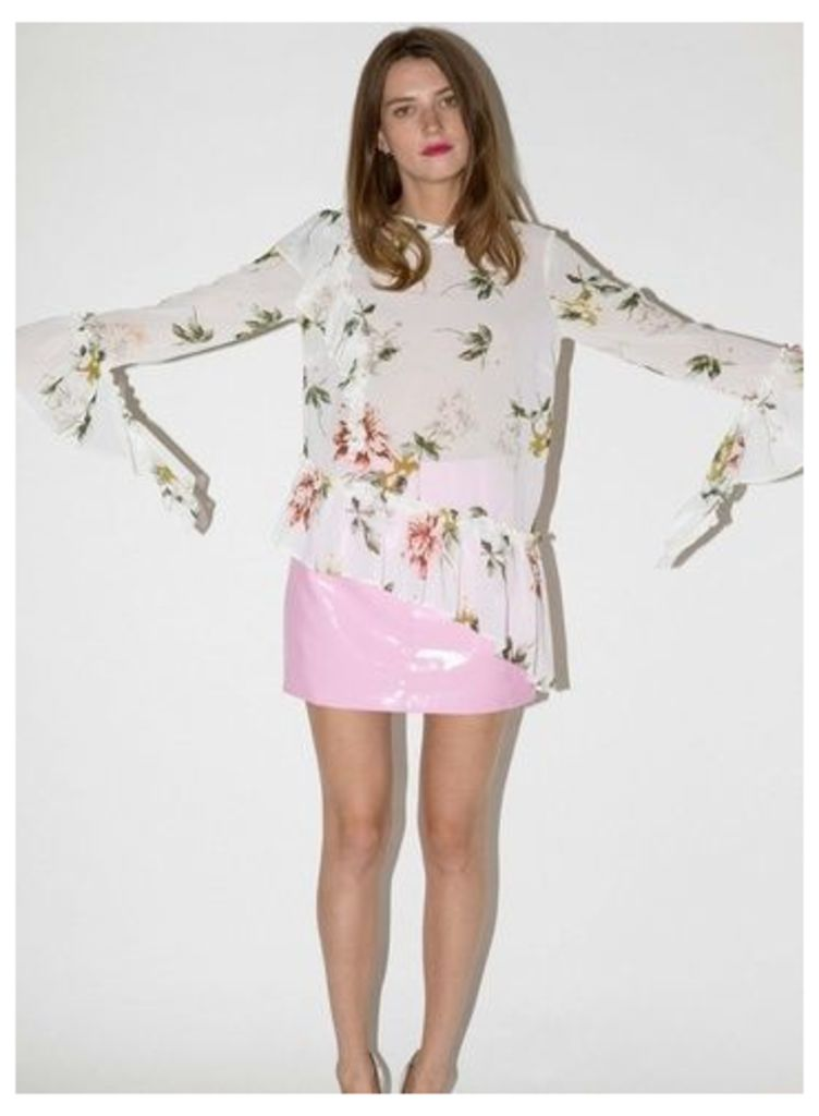 Womens Ivory Floral Print Ruffle Sleeve Blouse, Ivory