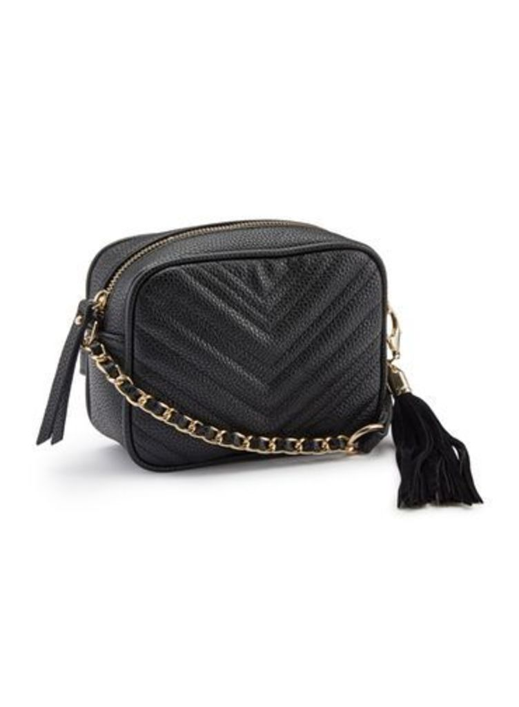 Womens Black Quilted Cross Body Bag, BLACK
