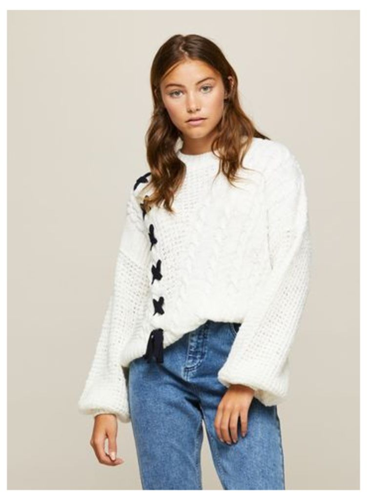 Womens Cream Contrast Lattice Cable Knitted Jumper, Cream