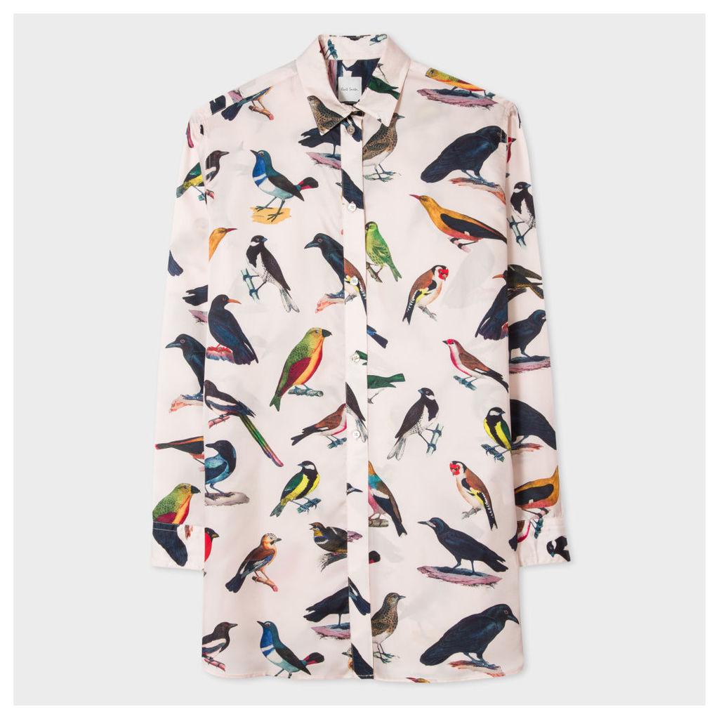 Women's Oversized Light Pink Cupro Shirt With 'Birds' Print