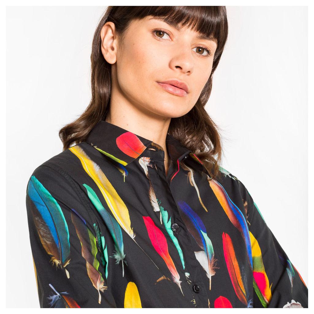 Women's Black 'Feather' Print Cotton Shirt