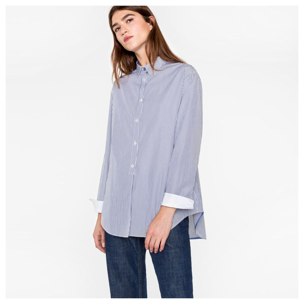 Women's Oversized Navy And White Striped Cotton Shirt