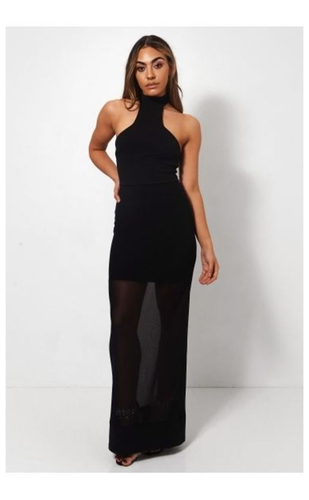 Black Chiffon Choker Maxi Dress