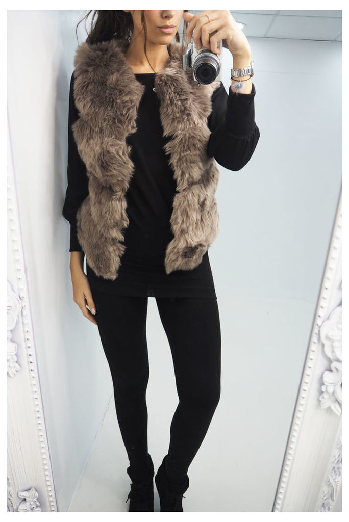 Tinkerbell TAUPE faux fur gilet