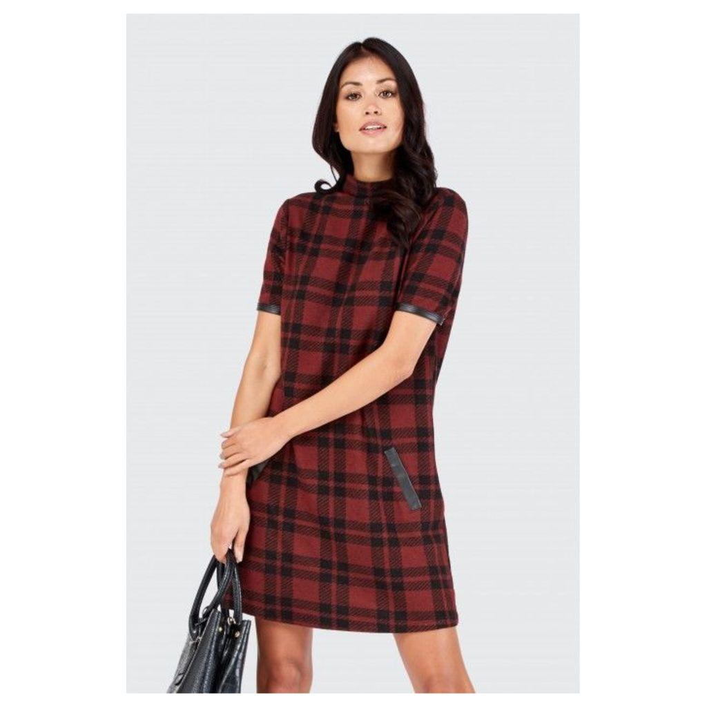 BRUSHED CHECK PU TRIM SHIFT DRESS