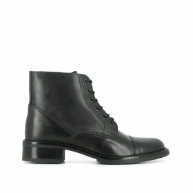 Tess Leather Ankle Boots with Laces and Block Heel