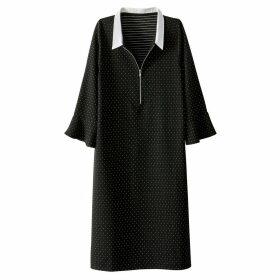 Polka Dot Shirt Dress with Peplum Sleeves