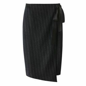 Wrapover Striped Skirt