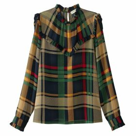 High-Neck Checked Blouse with Ruffles