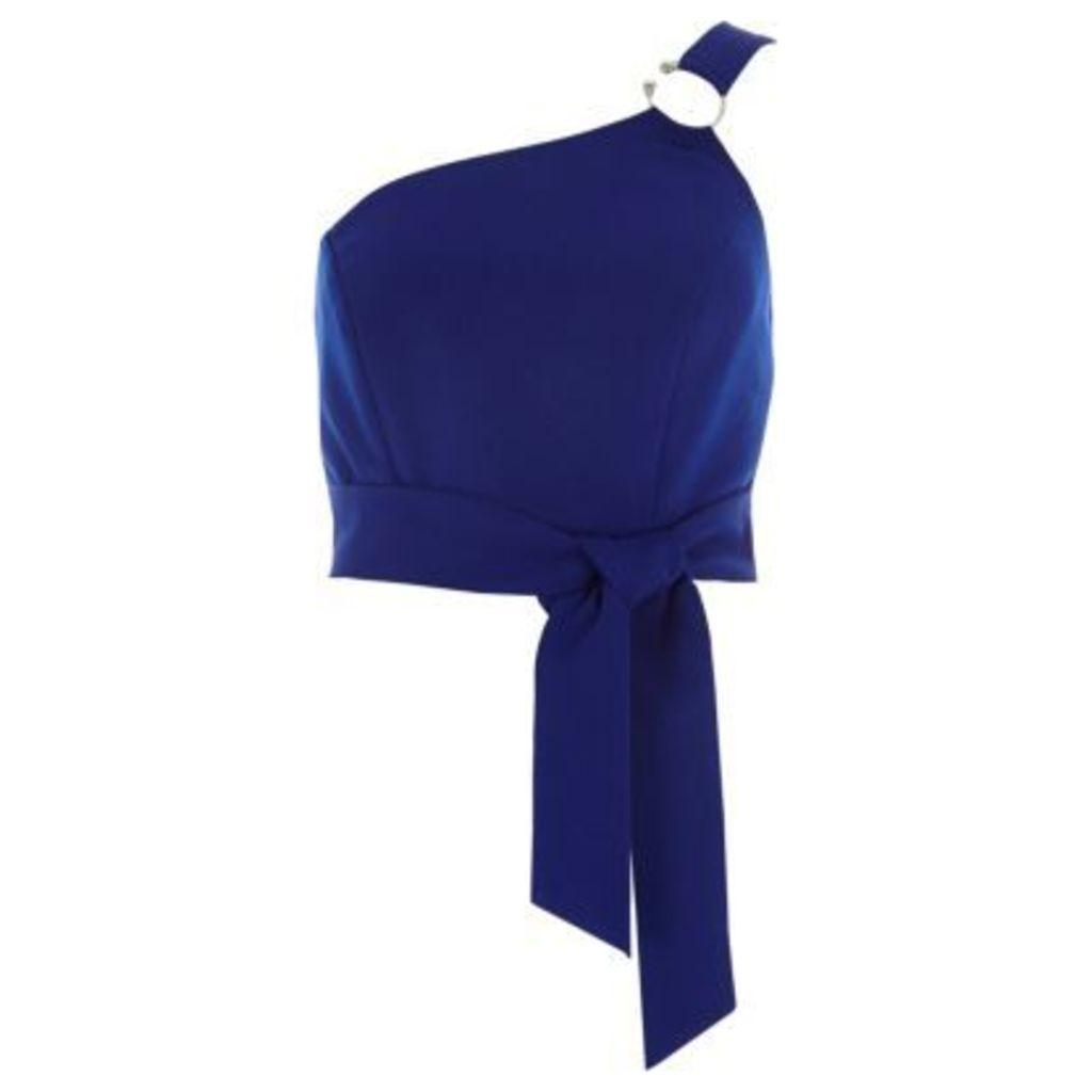 River Island Womens Blue ring one shoulder bralet