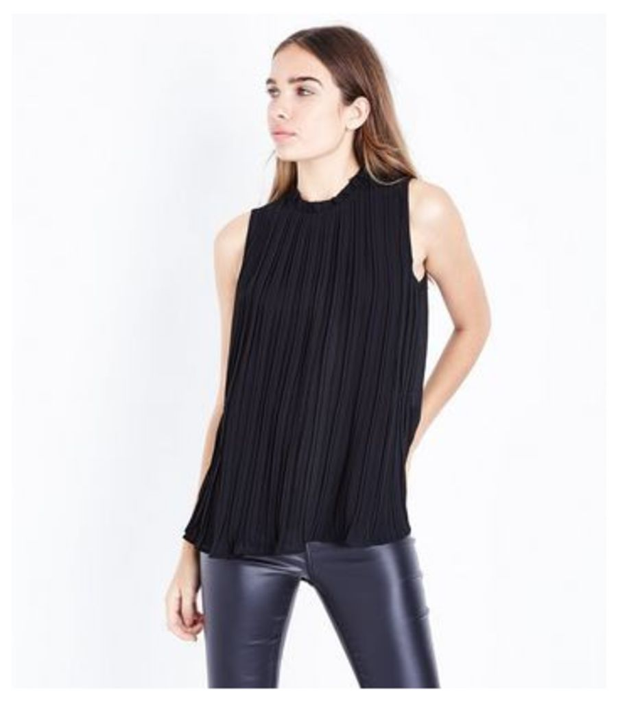 Apricot Black Frill Neck Pleated Top New Look