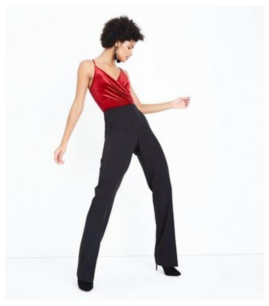 Red Velvet Wrap Front Bodysuit New Look