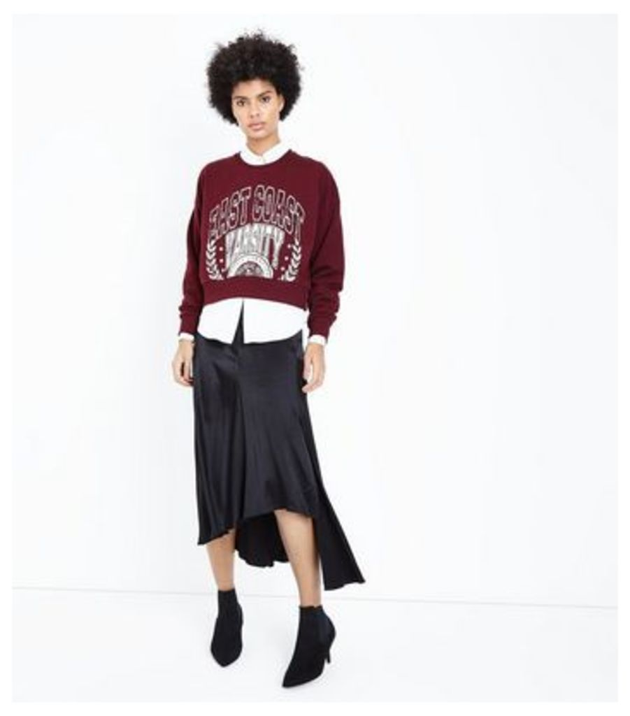 Burgundy East Coast Varsity Slogan Sweatshirt New Look